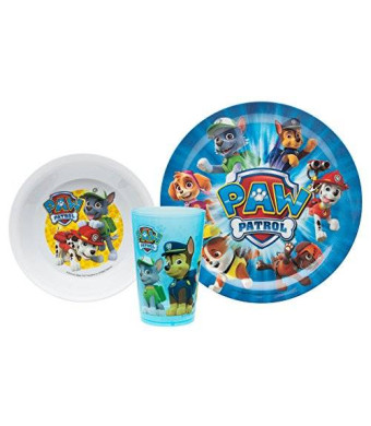 Zak Designs Zak! Designs Mealtime Set with Plate, Bowl and Tumbler featuring Paw Patrol Graphics, Break-resistant and BPA-free plastic, 3 Piece Set