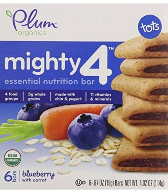 Plum Organics Mighty 4 Essential Nutritional Bar Blueberry with Carrot (2 pack)