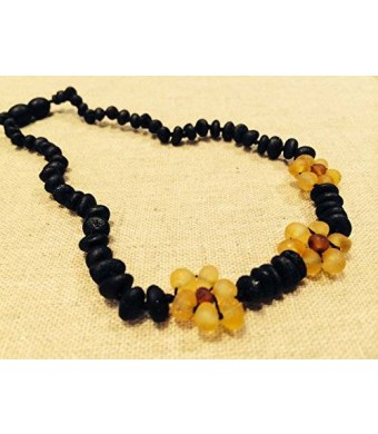 Baltic Essentials Baltic Amber 12.5 Inch Teething Necklace for Babies (Unisex) (Cherry Black Red Yellow Cognac Brown Lemon) Raw Unpolished - Baby
