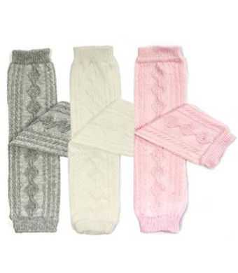 Bowbear 3 Pair Little Girls Cable Knit Argyle Leg Warmers