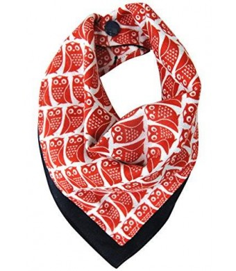 Kishu Baby Boy's Multifunctional Bandana Bib | One Size Reversible | Red Owl
