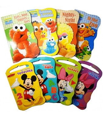 Bendon 2 Set of Baby Toddler Beginnings Board Books (Sesame Street Set + Mickey Mouse and Friends Set) - Total 8 Books