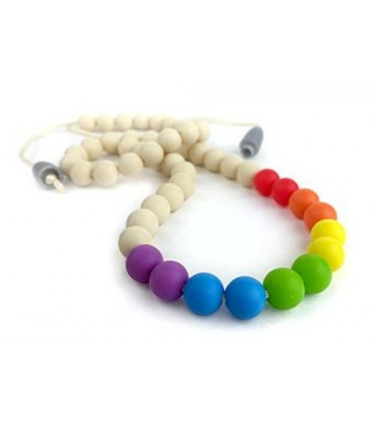 Willow   Mae Willow + Mae - Savannah Silicone Teething Necklace for Mom and Baby - Rainbow and Ivory