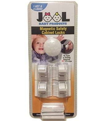 Jool Inc Jool Magnetic Cabinet Safety Locks Set with 4 Locks and 1 Key