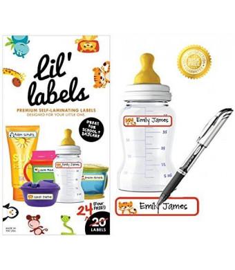 Lil' Labels - Baby Bottle Name Labels, Dishwasher-safe, Self-Laminating, Daycare Labels