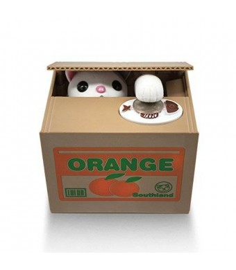 Matney Stealing Coin Cat Box- Piggy Bank - White Kitty - English Speaking - Great Gift for Any Child