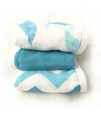 Cozy Babe Bamboo Muslin Washcloths - Aqua 3pk