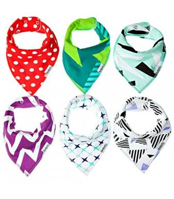 6 Bandana Drool Bibs By Bonbon (TM) Unisex with Adjustable Snaps , for Boys and Girls Soft and Absorbent HQ Bibs