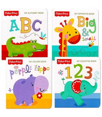 "Fisher-Price Fisher Price ""My First Books"" Set of 4 Baby Toddler Board Books (ABC Book, Colors Book, Numbers Book, Opposites Book)"