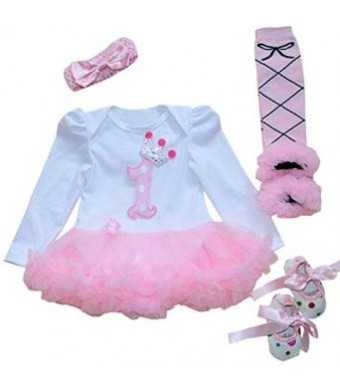 Marlegard Baby Girls' 4PCs 1st Birthday Tutu Dress Headband Shoe Legging 12M
