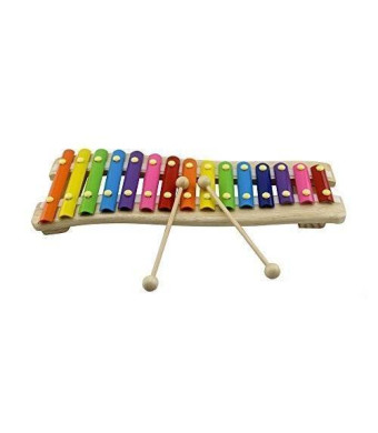 Rolimate Wooden 15 Key Chromatic Glockenspiel Xylophone - Notes Engraved Into Metal Keys