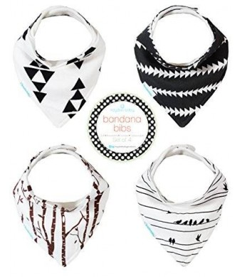Kaydee Baby Best Bandana Drool and Dribble Bibs with Adjustable Snaps for Boys and for Girls (Modern Grey) 4 Pack Gift Set