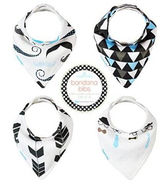 Kaydee Baby Best Bandana Drool and Dribble Bibs with Adjustable Snaps For Boys and For Girls (Hipster) 4 Pack Gift Set