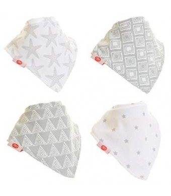 Zippy Fun Baby and Toddler Bandana Bib - Absorbent 100% Cotton Front Drool Bibs with Adjustable Snaps (4 Pack Gift Set) Unisex Grey and White