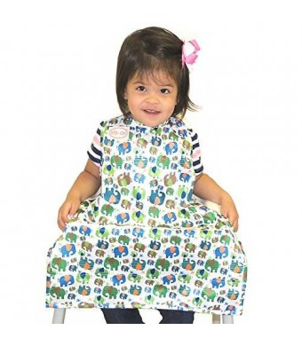 BIB-ON, A New, Full-Coverage Bib and Apron Combination for Infant, Baby, Toddler Ages 0-4+. One Size Fits All! (Elephants)