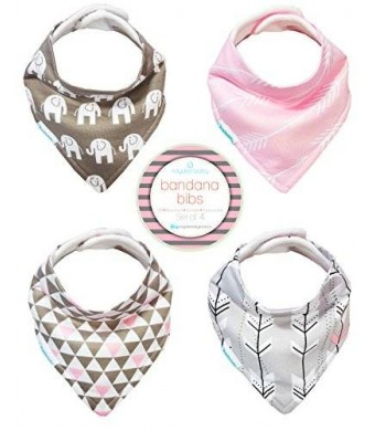 Kaydee Baby Best Bandana Drool and Dribble Bibs with Adjustable Snaps for Girls (Elephants) Set of 4 with Gift Bag