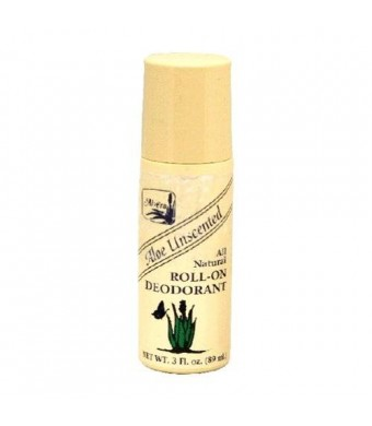 Alvera All Natural Roll-On Deodorant, Aloe Unscented, 3 Fluid Ounce