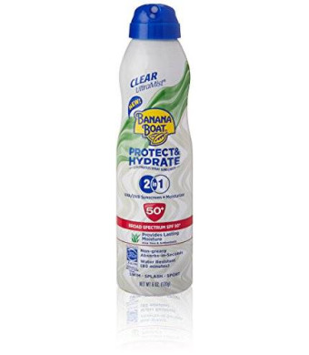 Banana Boat Sunscreen Ultra Mist Protect and Hydrate Moisturizing Broad Spectrum Sun Care Sunscreen Spray - SPF 50+, 6 Ounce