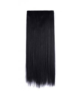 "Onedor 24"" Straight 3/4 Full Head Synthetic Hair Extensions 140g Clip on Clip in Hairpieces (1b-off Black)"