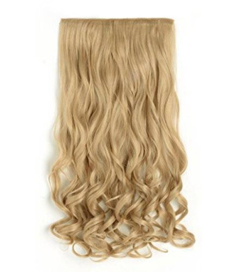 "OneDor 20"" Curly 3/4 Full Head Synthetic Hair Extensions Clip On/in Hairpieces 5 Clips 140g (25#-light Golden Blonde)"
