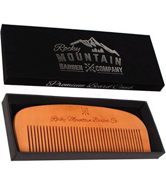 Hair Comb - Wood with Anti-Static and No Snag Handmade Brush for Beard, Head Hair, Mustache with High Quality Design in Gift Box by Rocky Mountain