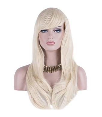 "DAOTS 28"" Wig Long Heat Resistant Big Wavy Hair Women Cosplay Wig (light blonde)"