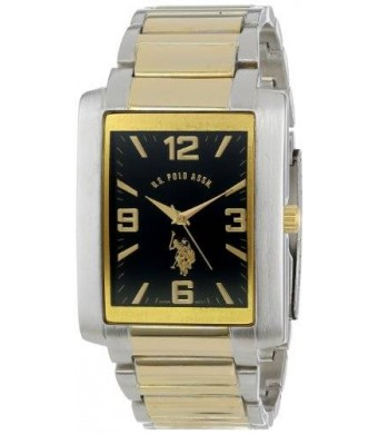U.S. Polo Assn. Classic Men's USC80043 Two-Tone Rectangular Black Dial Link Watch