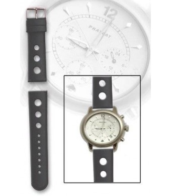 Black Rubber/Silicone Breitling Rally Style with Round End 22mm By Toscana