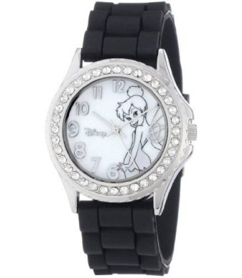 Disney Women's TK1061 Rhinestone Accent Tinkerbell Black Rubber Strap Watch