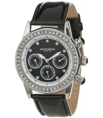 Akribos XXIV Women's AK556BK Dazzling Silver-tone Swiss Multifunction Black Strap Watch