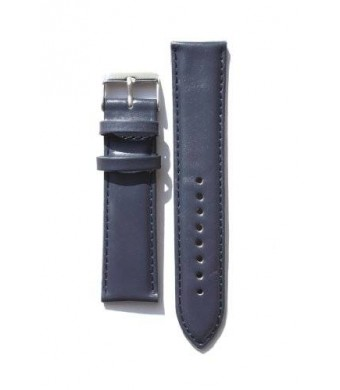 20mm Blue Oil-Tanned Calfskin Leather Watchband with Heavy Buckle and Red-Loop Keeper