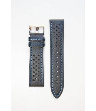 22mm Rally Racing Black with Blue Stitching Genuine Leather Watchband