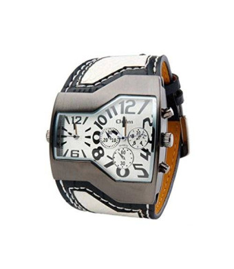 ShoppeWatch Mens Large Dial Watch Dual Time Display Quartz White Unique Dial Leather Band OM-168