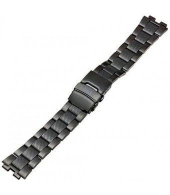 Kreisler BLM22002 22mm Stainless Steel Black Watch Strap Compatible with Pebble Steel