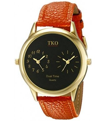 TKO ORLOGI Unisex TK657 Duel Time Traveler Analog Display Quartz Orange Watch