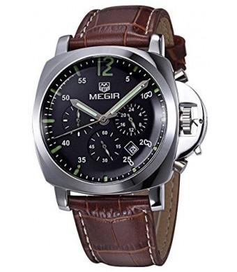 Megir Men Military Leather Luminous Chronograph Quartz Watches