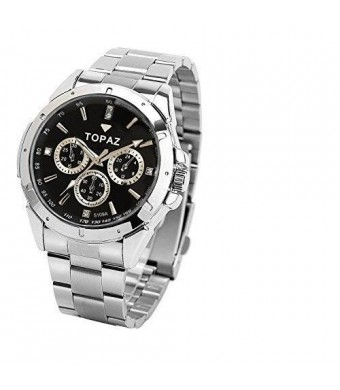 Topaz Men's 5019a Big Face, Black Dial, Analog Dress Watch with Robust Design At Affordable Price.