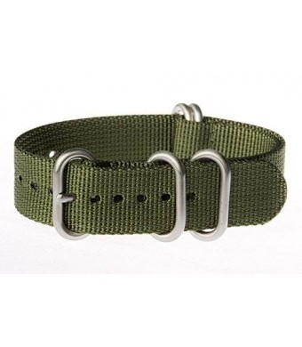 OhFlash 20mm [Solid Olive] Zulu G10 Nylon Nato Militaty Watch Band Strap with Polished Rings
