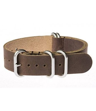 OhFlash 20mm [Brown Leather] Zulu G10 Nylon Nato Militaty Watch Strap with Polished Stainless Steel Rings