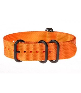 OhFlash 22mm [Solid Orange] Zulu 5 Ring PVD G10 Nylon Nato Militaty Watch Band Strap