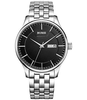 BUREI Men's SM-13001-P51EY Day and Date Stainless Steel Watch with Black Dial