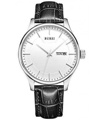 BUREI Men's SM-13001-P01AY Day and Date Black Calfskin Leather Watch with White Dial