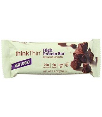 ThinkThin High Protein Bar, Brownie Crunch, 60 g, Bars, 10 Count