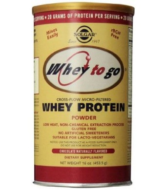 Solgar Whey To Go Protein Powder, Natural Chocolate Flavor, 16 Ounce