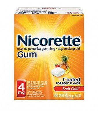 Nicorette Nicotine Gum Fruit Chill 4 milligram Stop Smoking Aid 100 count