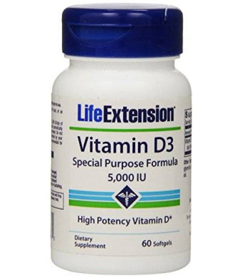 Life Extension Vitamin D3, 5000 IU, 60 Softgels (Package May Vary)