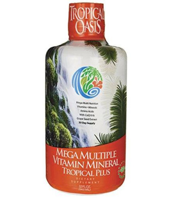 Tropical Oasis Mega Plus - Liquid Multivitamin and Mineral Supplement - Includes 85 Vitamins and Minerals