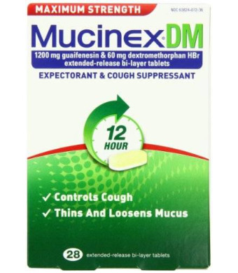 Mucinex DM Maximum Strength 12-Hour Expectorant and Cough Supressant Tablets, 28 Count