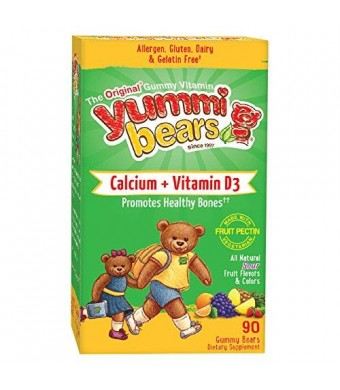 Yummi Bears Vegetarian Calcium + Vitamin D3 Supplement for Kids, 90 Gummy Bears