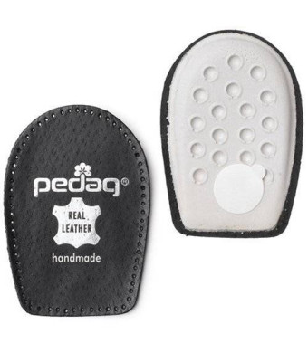 Pedag Perfect Shock Absorbing Heel Pads Made with Vegetable Tanned Leather and Latex Rubber, Black, Medium (8L to 7M)